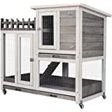 Scurrty Rabbit Hutch Indoor Bunny House Large Rabbit Cage Outdoor Guinea Pig Cage Deep No Leak Waterproof Pull Out Tray Coop