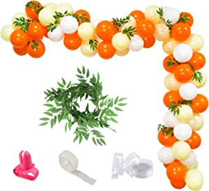 K KUMEED Yellow White Orange Balloon Garland Arch kit with Artificial Willow Leaves for Little Cutie Birthday Sunshine Baby Shower Bridal Shower Party Decoration