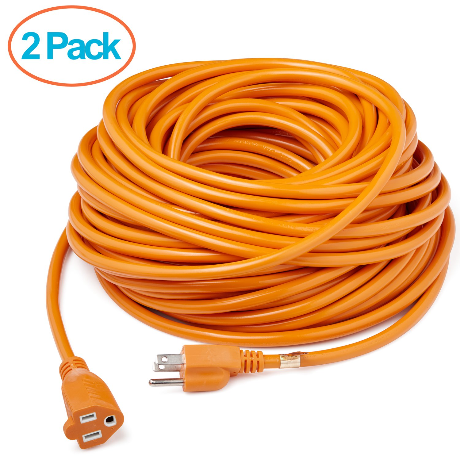 ClearMax 50' 16/3 Heavy Duty Vinyl Outdoor Extension Cord with 3 Prong Grounded Plug - UL Approved - 16 AWG - 50 Feet - Orange - 2 Pack
