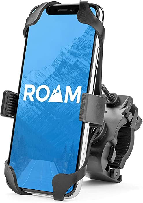 "Roam Universal Premium Bike Phone Mount for Motorcycle - Bike Handlebars, Adjustable, Fits iPhone X, XR, 8 | 8 Plus, 7 | 7 Plus, iPhone 6s | 6s Plus, Galaxy, S9, S8, S7, Holds Phones Up to 3.5"" Wide"