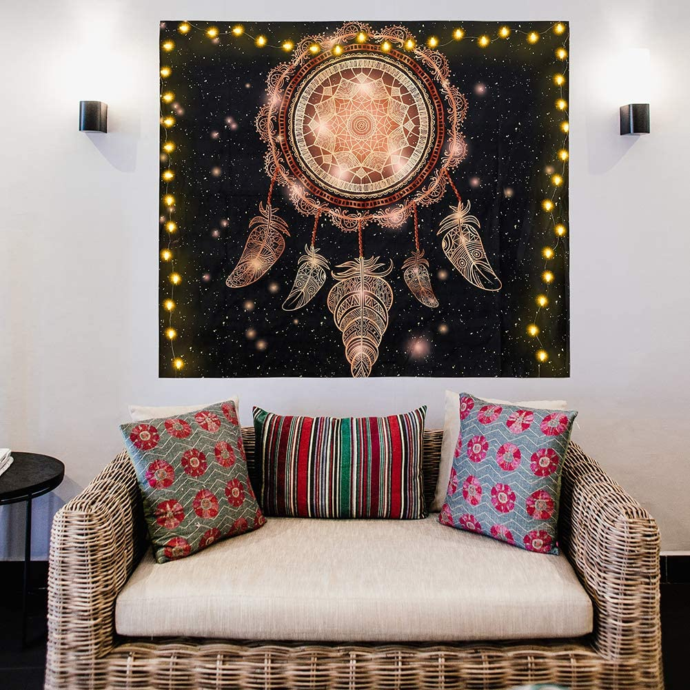 DEARCRAFT Dream Catcher Tapestry with 30 Led Lights Wall Hanging Metallic Hippie Art Psychedelic Tapestry Black Tapestry for Bedroom Living Room Home Wall Decor 28