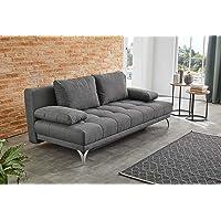 lifestyle4living Funktionssofa in grauem Microfaserstoff, Sofa mit Schlaffunktion, Pflegeleichte Schlafcouch inkl. Rücken- und Armlehnkissen.
