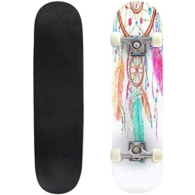 Classic Concave Skateboard Watercolor Decoration Bohemian Dreamcatcher Boho Feathers Decoration Longboard Maple Deck Extreme Sports and Outdoors Double Kick Trick for Beginners and Professionals : Sports & Outdoors