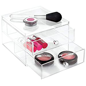 InterDesign Clarity Cosmetic Organizer for Vanity Cabinet to Hold Makeup, Beauty Products - 2 Drawer, Clear