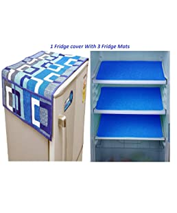 Mayur7star® Combo of Designer Refrigerator Cover(Blue) and 3 Fridge Mats (Blue) Standard Size; -Set of 4 Pieces