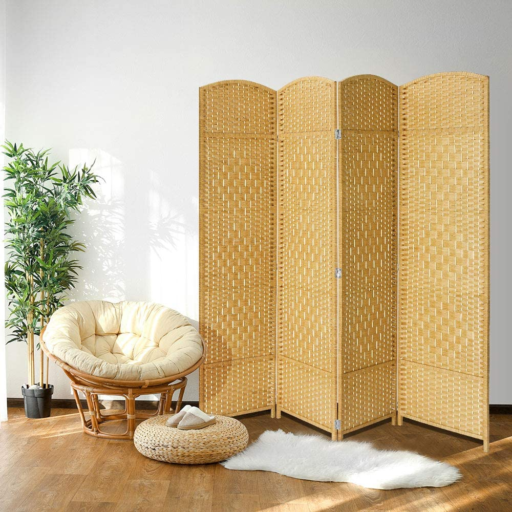 JOSTYLE Room Divider 6feet. Tall Extra Wide Privacy Screen, Folding Privacy Screens with Diamond Double-Weave Room dividers and Freestanding Room Dividers Privacy Screens(Natural, 4-Panel)