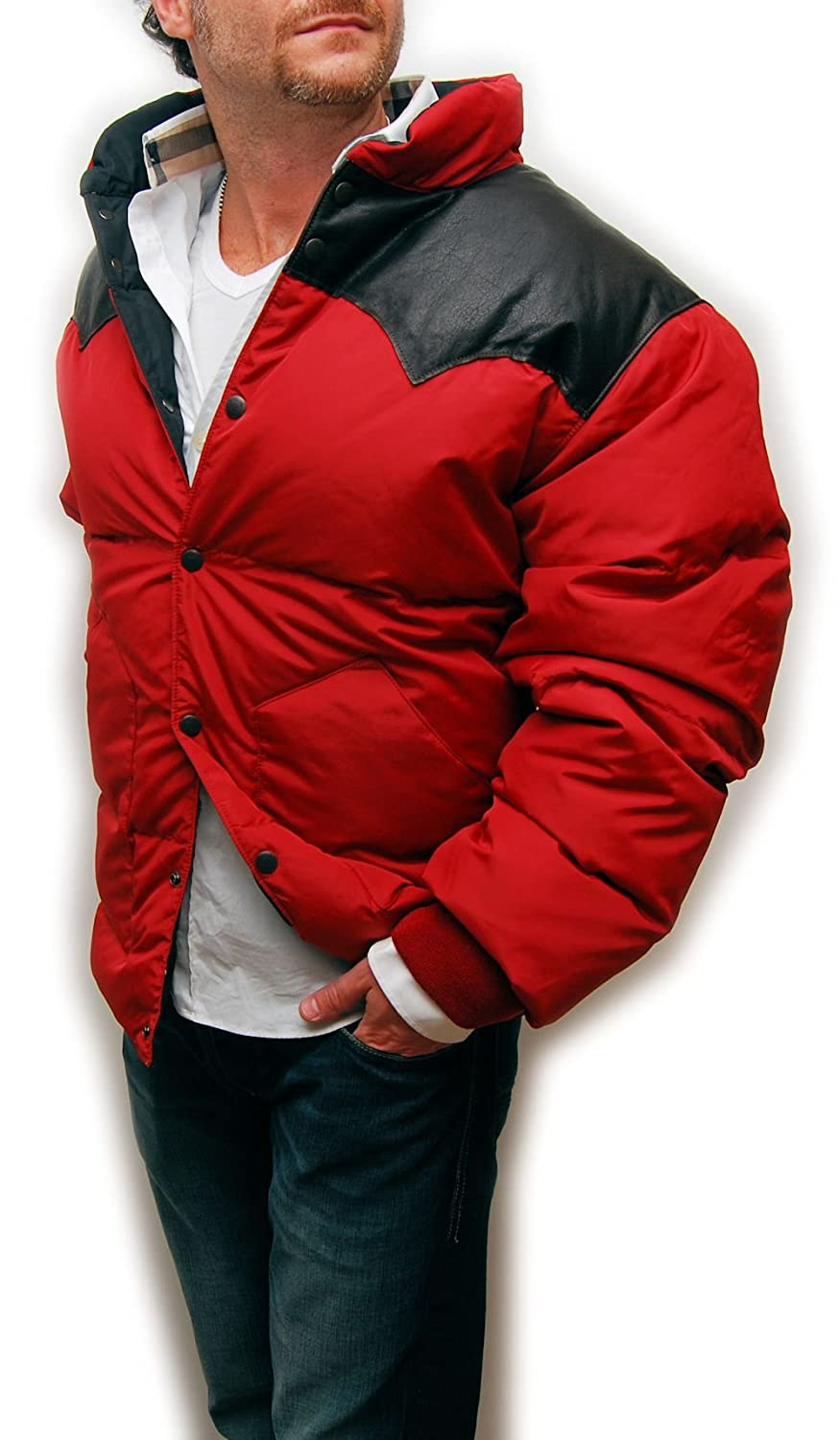 2027907539e5 Polo Ralph Lauren Double RL RRL Mens Leather Down Puffer Ski Jacket Coat  Red XL at Amazon Men s Clothing store