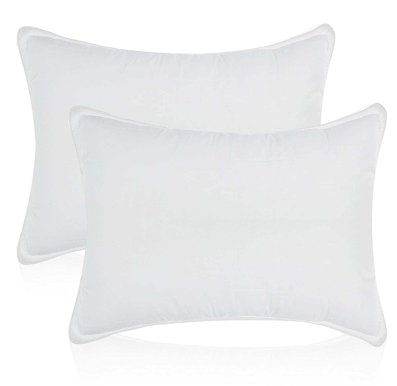 White Classic Bed Pillows for Sleeping | Down Alternative Luxury Hotel Pillow | 2 Pack | Queen Size