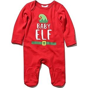 43f1019cf M&Co Newborn Unisex Baby Long Sleeve Cotton Baby Elf Slogan Enclosed Feet  Festive Christmas Sleepsuit
