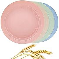 Aaskuu Unbreakable Lightweight Wheat Straw Plates, Reusable 9 Inch Plate Set for Kids Children Toddler Adult, Degradable…
