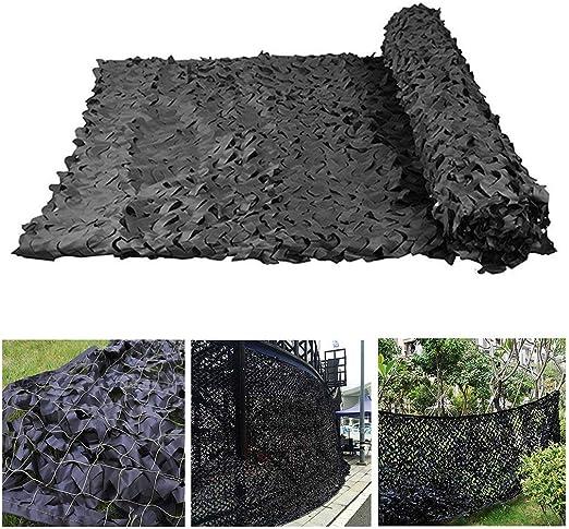 Red de Camuflaje 3m 4m 5m, Red de Camuflaje Militar Ignífuga Reforzado Tela de Oxford/Cubierta de Camuflaje Red de Sombra para Jardín Pérgola de Invernadero para Acampar Caza Oculta, Negro: Amazon.es: Jardín