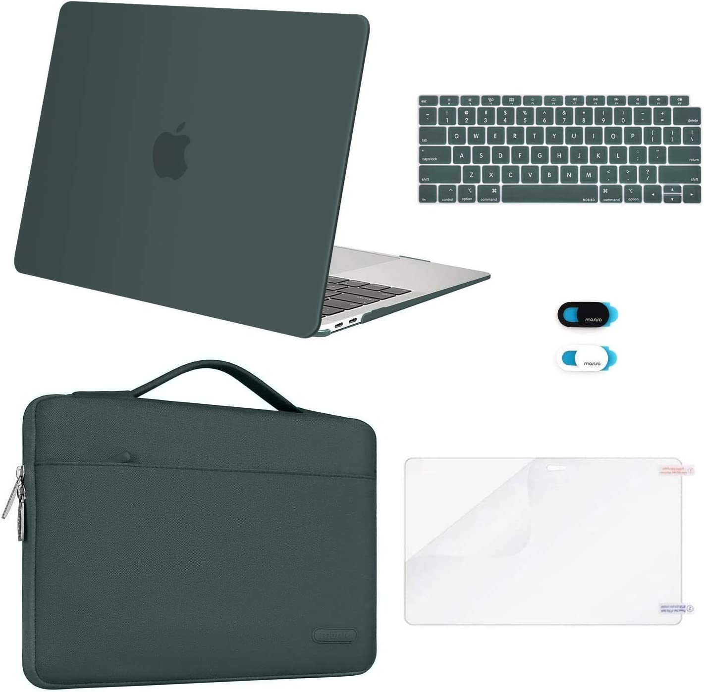 MOSISO MacBook Air 13 inch Case 2020 2019 2018 Release A2179 A1932, Plastic Hard Shell&Sleeve Bag&Keyboard Cover&Webcam Cover&Screen Protector Compatible with MacBook Air 13 inch Retina,Midnight Green