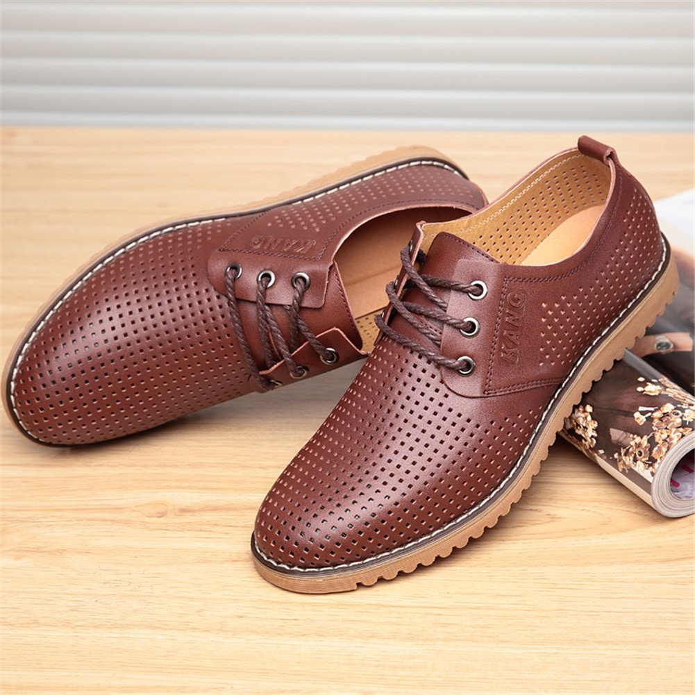 ChicWind Men's Breathable Leather Casual Shoes Lace up Oxfords Dress Shoes Brown by ChicWind (Image #5)