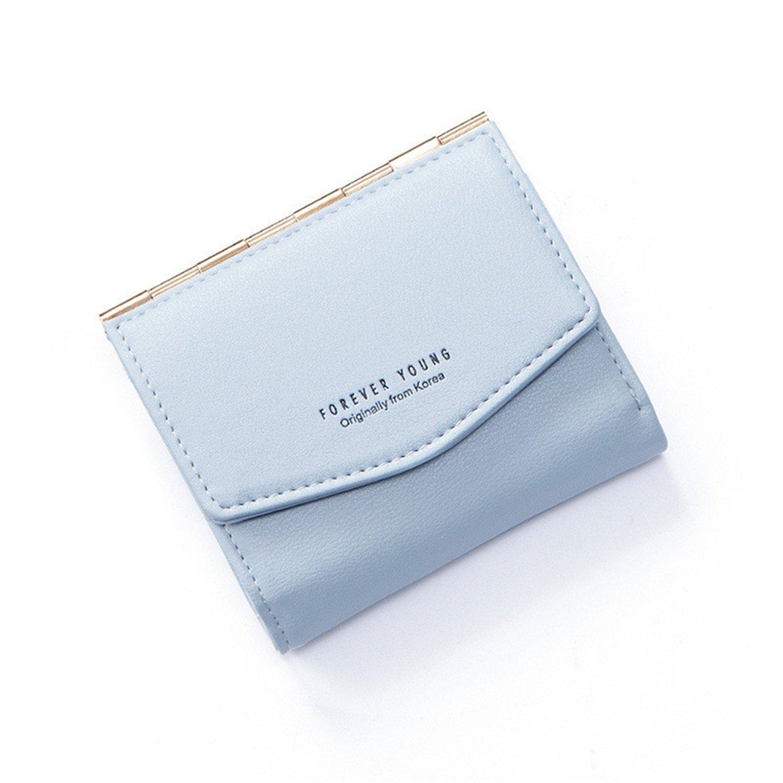 Women'S Fashion Short Metal Wallet Simple Solid Color Durable Coin Purse,Fog Blue