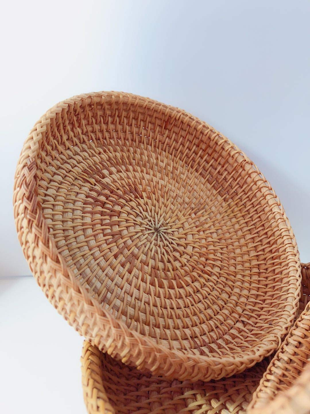 Rattan Basket Dried Fruit Basket Woven Basket Basket For Gifts Fruit Baskets Wicker Picnic Basket Wicker Basket Candy Basket 2019 Organizer Shallow Basket Gift Baskets For Women (2PCs wicker basekt) by TIMESFRIEND (Image #6)
