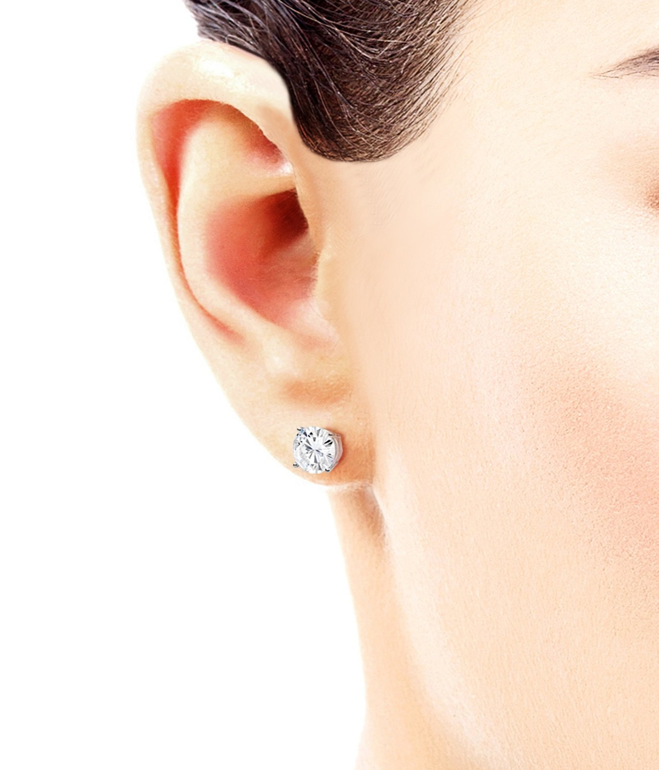 Forever One 6.5mm Round Moissanite Stud Earrings, 2.00cttw DEW By Charles & Colvard by Charles & Colvard (Image #3)