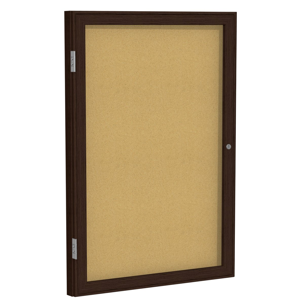 Ghent 24'' x 18'' Wood Frame Walnut Finish Enclosed Bulletin Board, Natural Cork (PN12418K)