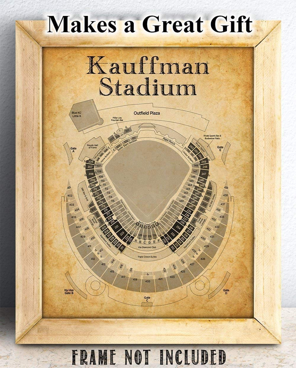 Amazoncom Kauffman Stadium Baseball Seating Chart 11x14