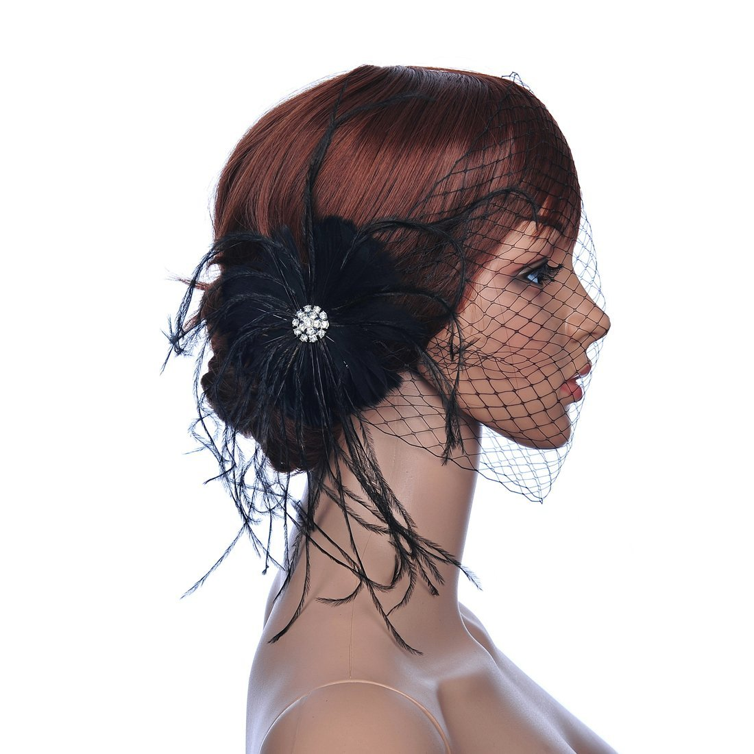 Remedios Black Feather Party Hair Veil Accessory Bridal Headpiece LWCAFS130119