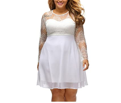 Image Unavailable. Image not available for. Color  LR Women s Sweet Lace  Black Long Sleeve Big Sizes Clothing Skater Dress White XL 611cfc102