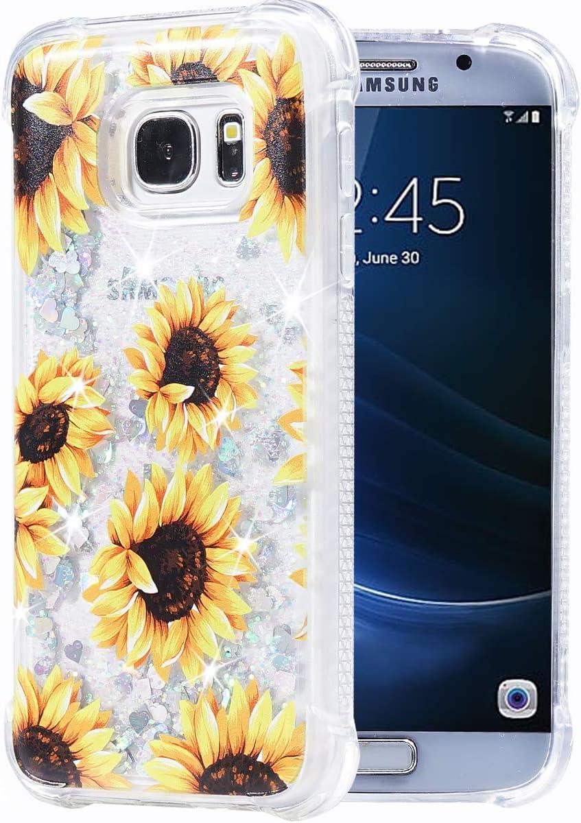 Amazon Com Galaxy S7 Case Flocute Galaxy S7 Glitter Floral Case Flower Bling Sparkle Floating Liquid Soft Tpu Cushion Luxury Fashion Girly Women Cute Case For Samsung Galaxy S7 Sunflower