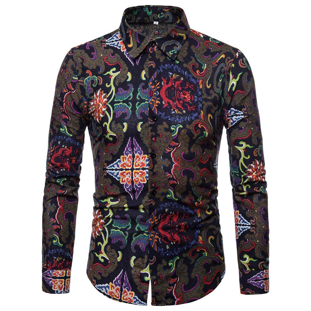 MISYAA Shirts for Men Button Down Work Shirt Mens Orient Floral Shirt Office Shirts Tight Tank Top Only Left Mens Tops
