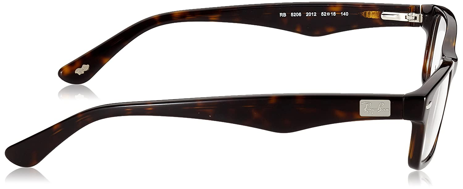 756cf8371360c Amazon.com  Ray-Ban Men s 0rx5206 No Polarization Rectangular Prescription Eyewear  Frame Dark Havana 52 mm  Clothing