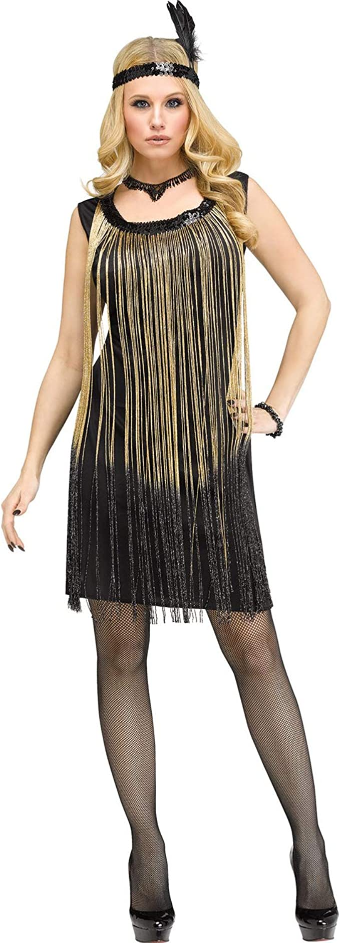 Roaring 20s Costumes- Flapper Costumes, Gangster Costumes Fun World Womens Flirty Flapper Gold 1920s Halloween Costume $34.95 AT vintagedancer.com
