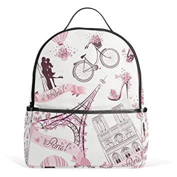COOSUN Paris Symbols School Backpack Lightweight Canvas Book Bag for boys  girls Kids  Amazon.co.uk  Luggage 6a40a6920f2b7