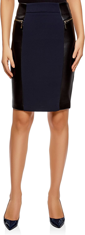 oodji Collection Mujer Falda con Cremalleras Decorativas e Inserciones de Piel Sintética