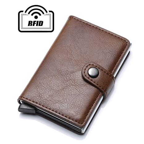 C-Secure Aluminum Card Holder with PU Leather credit card RFID Blocking Wallet
