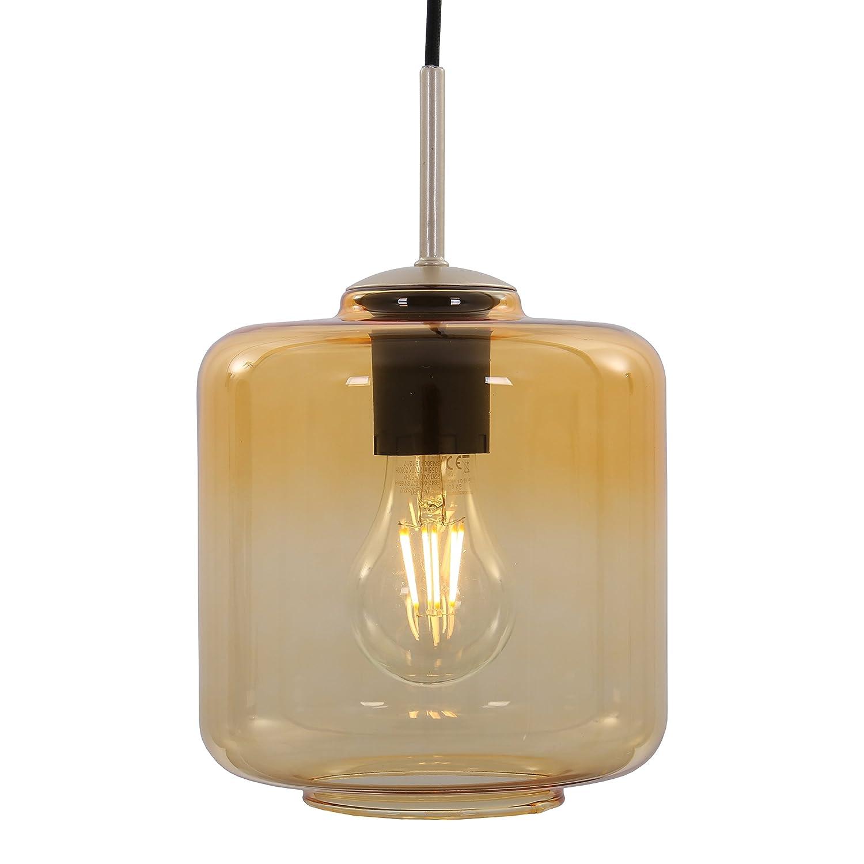 Briloner Leuchten – Pendelleuchte, Pendellampe mit Gold/Bernstein farbigem Zylinderglas Basis matt-nickel, E27, max. 40W, inkl. Textilzuleitung, Länge: 1,20 m Länge: 1 4011-017