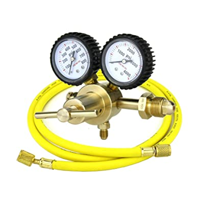 "SÜA - Nitrogen Gas Regulator 0-600 PSIG - HVAC Purging - Pressure Charge - 1/4"" Flare Connector - With 60"" Charging Hose."