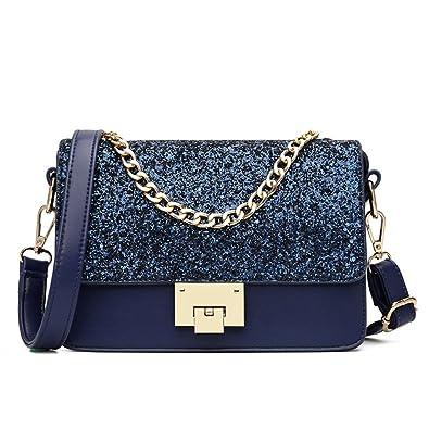 12b343333ec01 Maod Mode Umhängetasche Mädchen Taschen Damen Schultertasche leder Handtasche  klein Damenhandtasche Metallgriff Henkeltasche Abendhandtasche (Blau