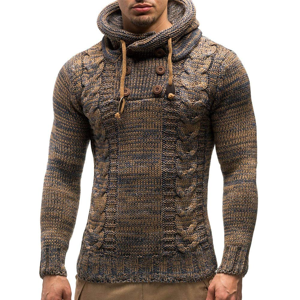PASATO Men's Autumn Winter New Sale Classic Pullover Knitted Cardigan Coat Hooded Sweater Jacket Outwear Top Blouse(Khaki, XL)