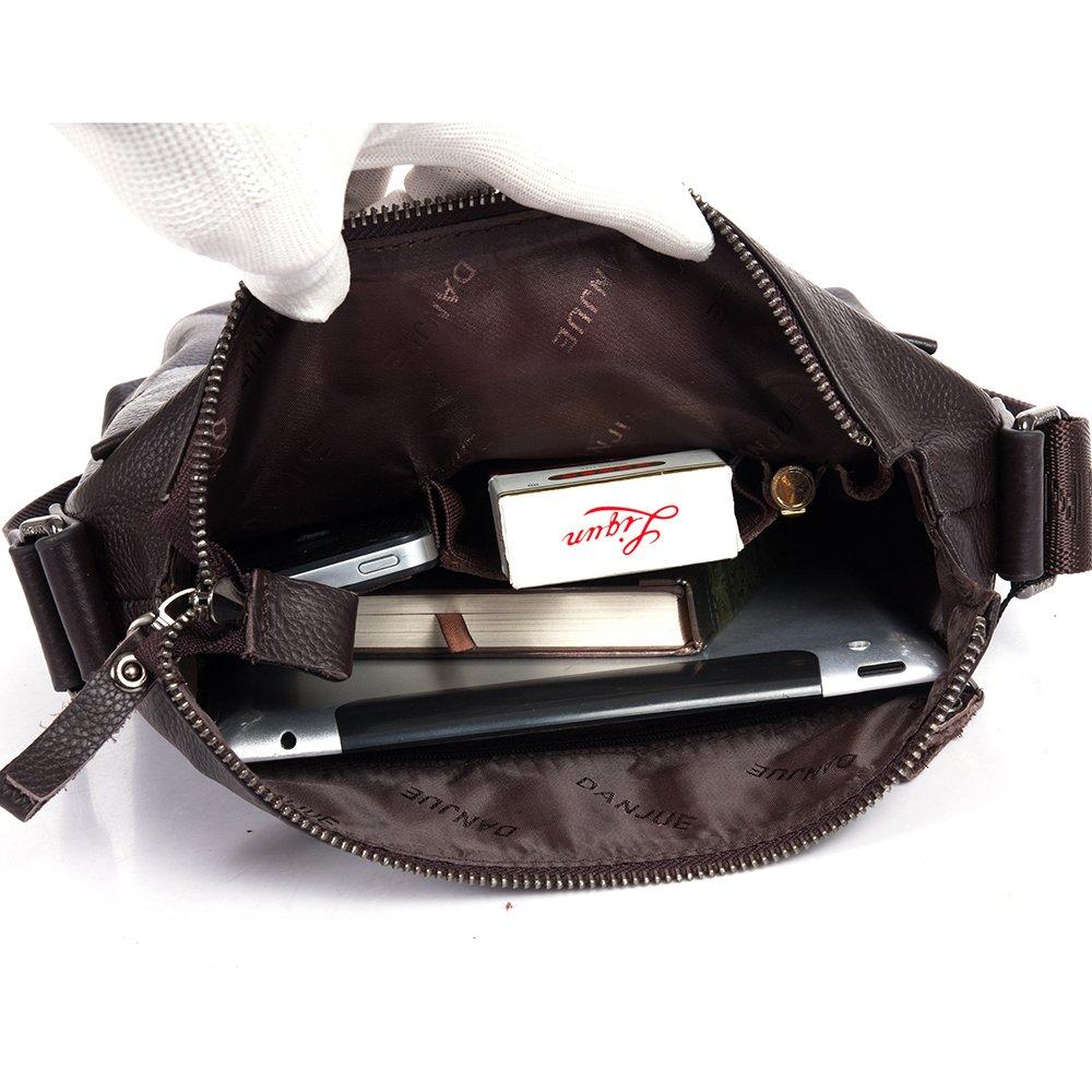 DANJUE Genuine Leather Mens Business Messenger Crossbody Shoulder work Bag