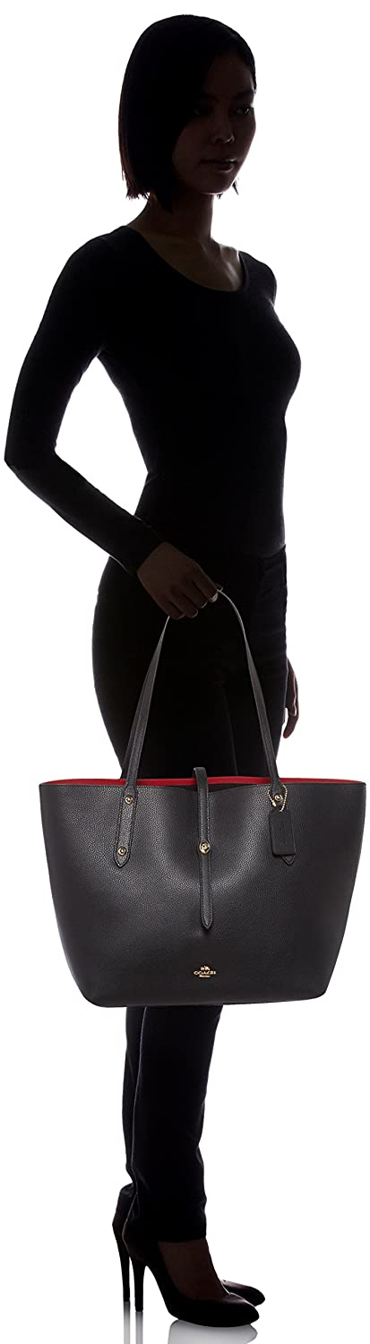 86f0524c8f4c Details about COACH Women's Polished Pebbled Leather Market Tote  Li/Black/True Red One Size