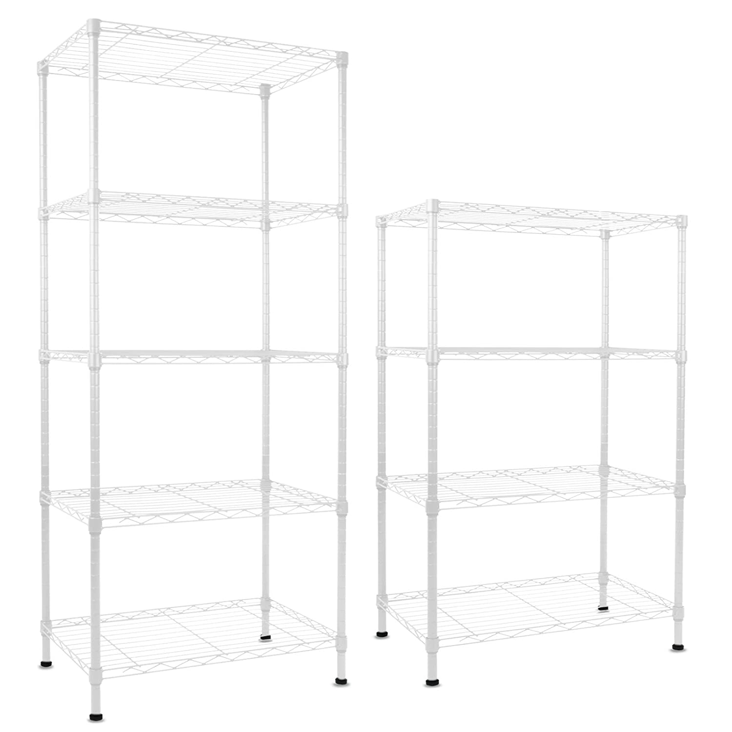 casa pura Steel Shelving Rocky, White - 5 Tier, 90x45x200cm | 4 Sizes - Multipurpose Storage System
