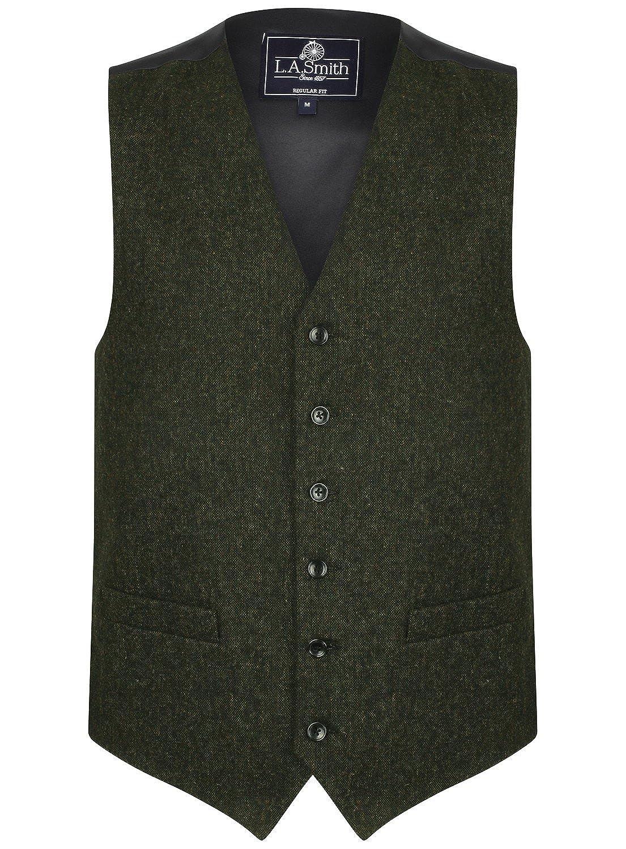 Gilet in Misto Lana, Tweed Fleck Verde - Uomo