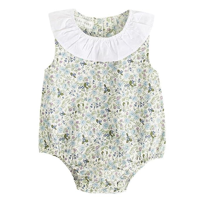PAOLIAN Ropa para bebé niñas Monos Verano 2018 Mameluco Impresion de Floral Sin Mangas Cuello Redondo