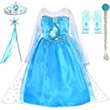 Princess Dress Up Costumes for Little Girls Birthday Party with Wig,Crown,Mace,Gloves Accessories 3-10 Years