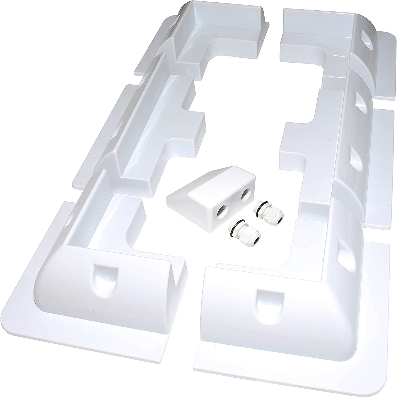 Motorhomes Solar Panel Mounting Bracket White Side Set Kit Adhesive Bond 2 Piece for Caravans Boats /& Any Flat Surface