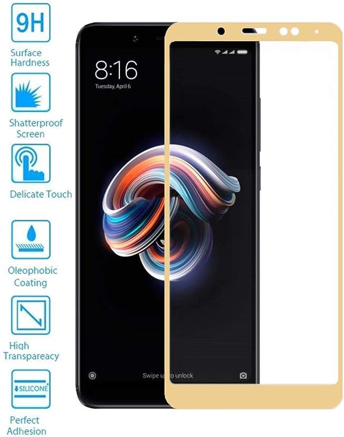 Todotumovil Protector de Pantalla Xiaomi Redmi Note 5 Dorado Completo 3D Cristal Templado Vidrio Curvo para movil: Amazon.es: Electrónica