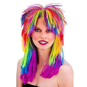 Unisex 80s Retro del arco iris de la peluca