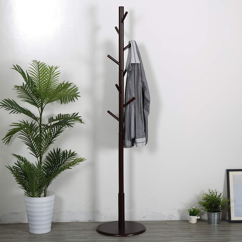 Vlush Wooden Coat Rack Free Standing Hat Tree With Round