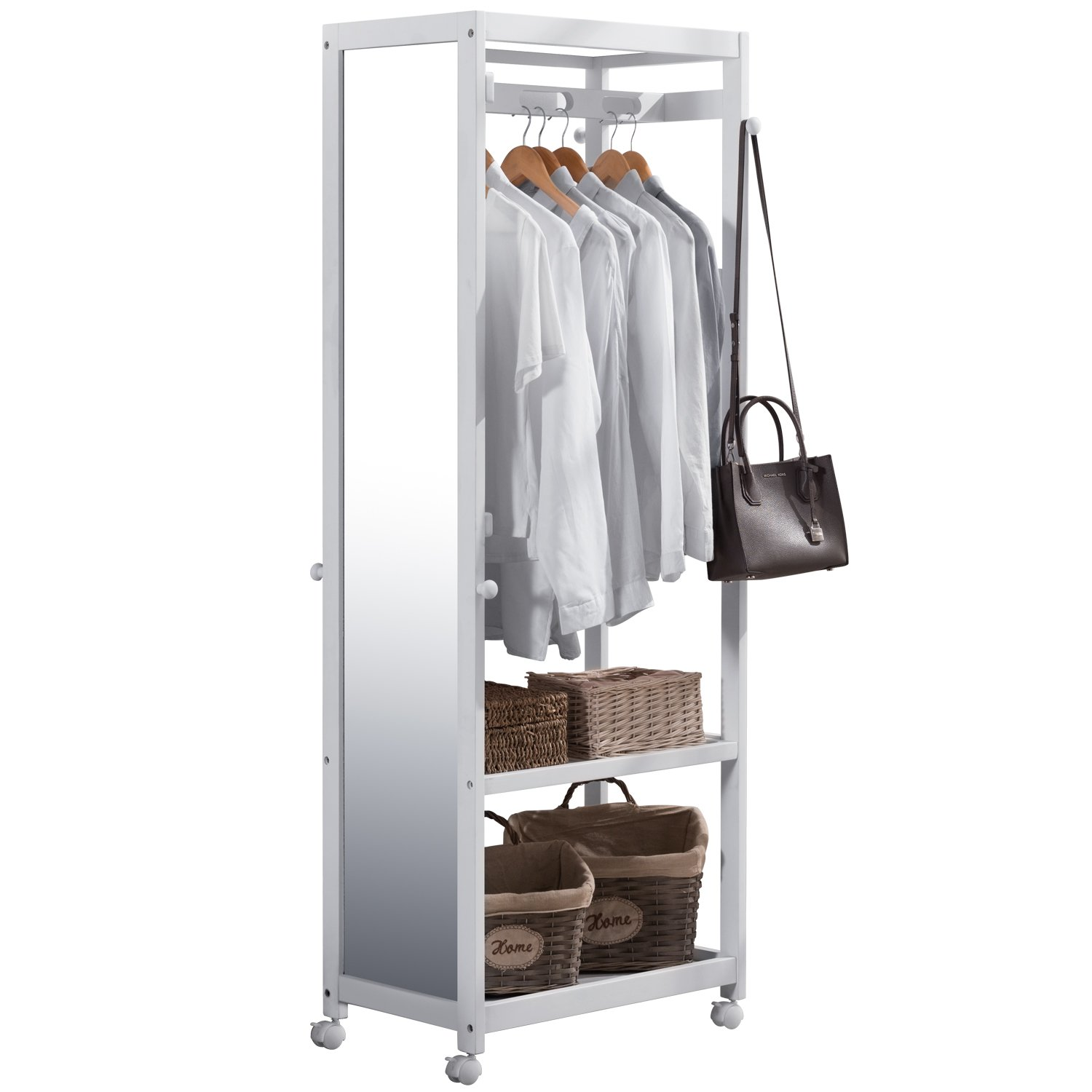 Tiny Times Free Standing Armoire Wardrobe Closet with Full Length Mirror, 67'' Tall Wooden Closet Storage Wardrobe with Brake Wheels,Hanger Rod,Coat Hooks,Entryway Storage Shelves Organizer- White by Tiny Times