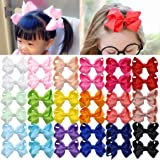 Hair Bow Clips Big Barrettes for Girls Toddlers Hair Accessories Pigtails Grosgrain Ribbon Hair Bow Organizer Gift Pack of 20