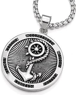 COOLSTEELANDBEYOND Herren Edelstahl Schiffsanker Lenkrad Kreis Anhänger Halskette mit Schwarzen Zirkonia, 75cm Stahl Weizen-Kette