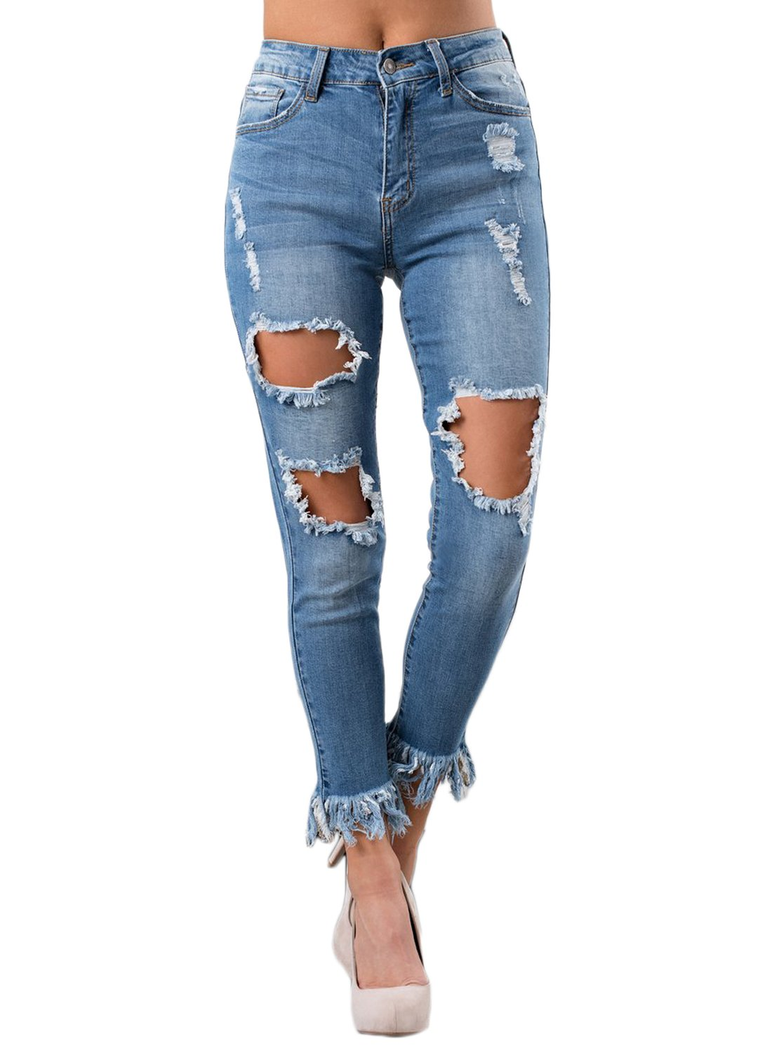 Dokotoo Womens Summer Ripped Distressed Destroyed Hole Pockets Mid Waist Skinny Wash Denim Jeans Pants X-Large