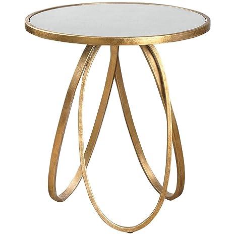 Amazon.com: montrez Oro Accent mesa, Vidrio, Dorado: Kitchen ...